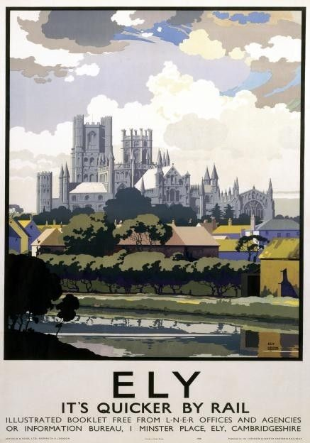 Ely-Cambridgeshire-England-Its-Quicker-by-Rail-LNER-Vintage-Railway-poster