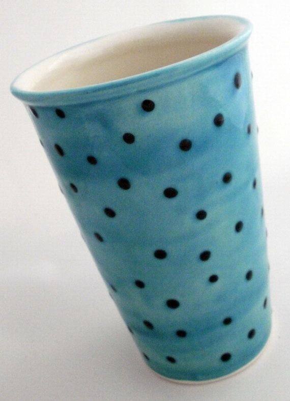 Hey, I found this really awesome Etsy listing at https://www.etsy.com/listing/178227736/ceramic-travel-mug-in-blue-with-dots