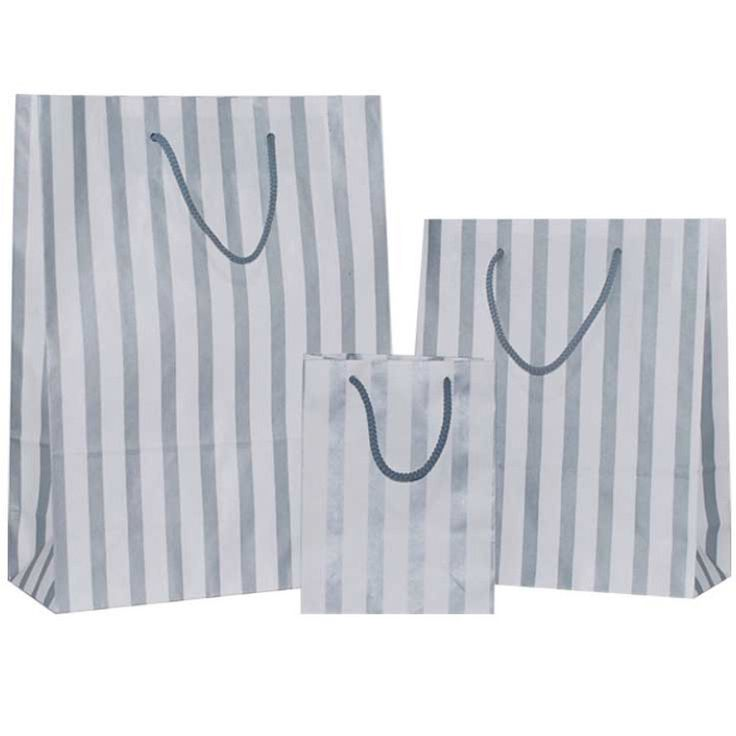 Silver Stripes on White Carrier Bag with Rope Handle - Pico Bags