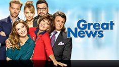 """GREAT NEWS """"War Is Hell"""" Katie's (Briga Heelan) secret war reporter boyfriend, Trip (guest star Tommy Dewey), is back in town and working at the MMN offices. Despite Katie's best efforts, Carol (Andrea Martin) quickly uncovers the covert relationship using a plan she stole from """"Days of Our Lives"""" (guest starring Deirdre Hall, Lauren Koslow and Martha Madison). Meanwhile, Chuck (John Michael Higgins), feeling threatened by Trip, is determined to return to the field. Greg (Adam Campbell) and…"""