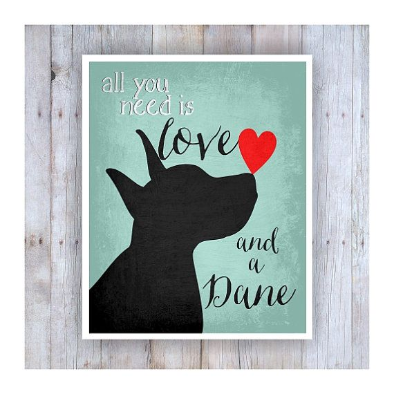 Great Dane Art Dog Art All You Need is Love Dog by GoingPlaces2
