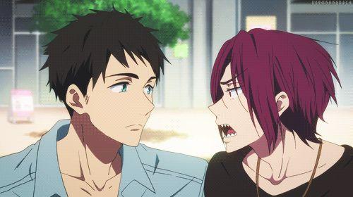 Sousuke Yamazaki & Rin Matsuoka gif (I feel like it's a rare site to see Sousuke smiling like that)