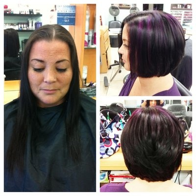 before n after dina  long fine hair to a cute layered bob