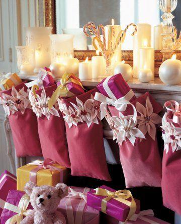 Stocking alternative: Christmas Parties, Traditional Christmas, Pink Christmas, Mantel Decor, Christmas Sacks, Christmas Stockings, Christmas Treats, Christmas Decor, Pink Stockings