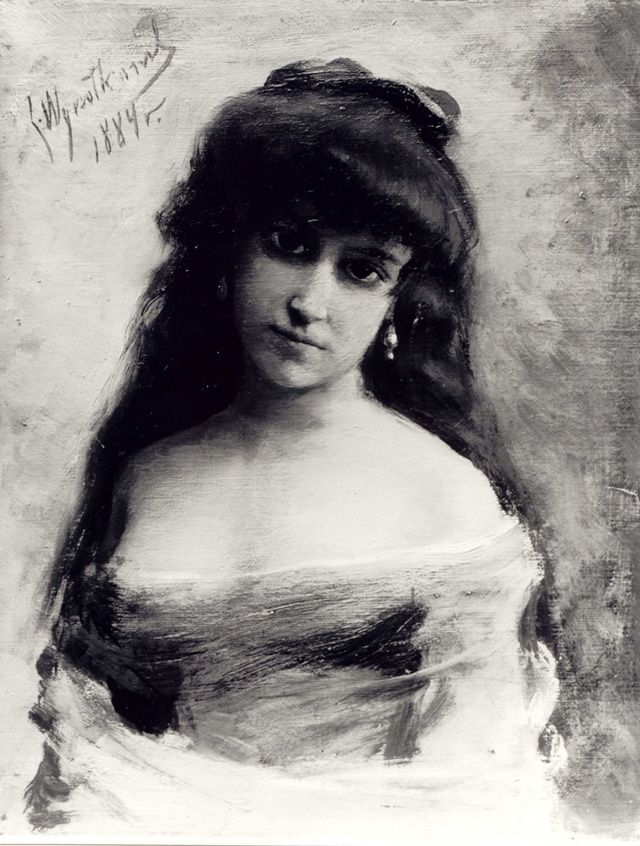 Leon Wyczółkowski (1852-1936), A Study – The Bust of a Young Woman (1884/1889), oil on canvas, 27 x 22 cm, kolekcje.mkidn.gov.p Leon Wyczółkowski is one of the foremost representatives of the realist current among the painters of the so-called Young Poland period. This highly erotic portrait of a young woman was part of the Society for the Encouragement of Fine Arts collection since 1900. A gift of Feliks Gebethner, it was later deposited at National Museum of Warsaw in 1939. It was then a