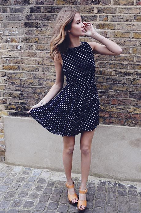 Millie Mackintosh is Wearing Polka Dot Dress From InLove With Fashion, And Shoes From Office