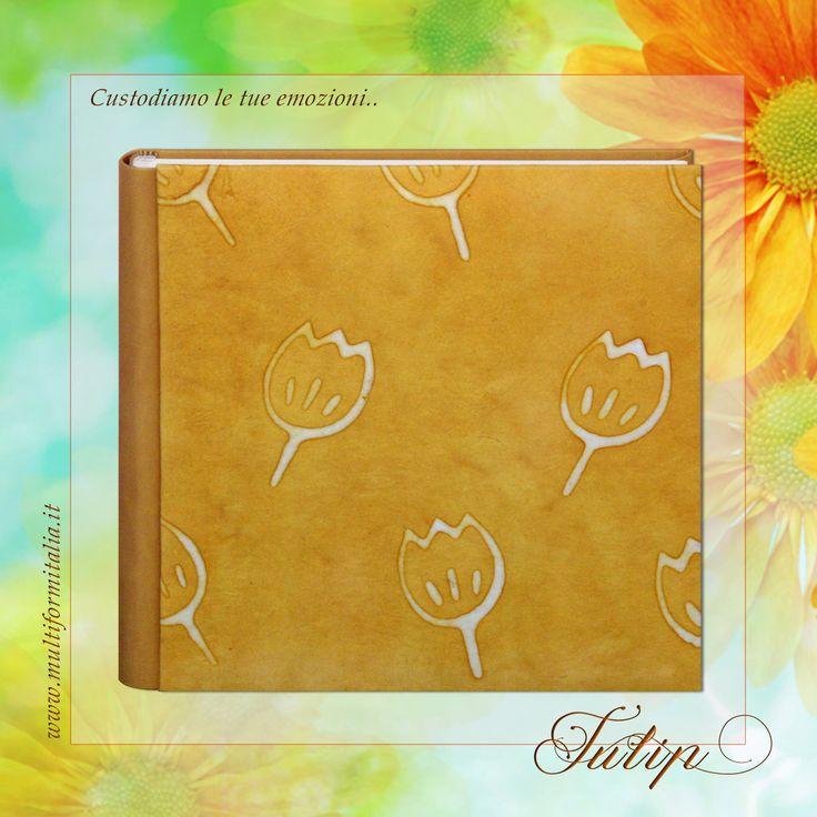Batik Tulip <3 Coloratissimo album 30x30cm in Cuoio Rigenerato giallo e Carta Batik con 40 interni avorio con veline ..in cui raccogliere i momenti di un'estate indimenticabile. #batikcollection