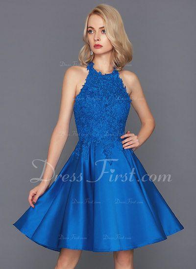 65056d432a0 A-Line Princess Halter Knee-Length Satin Homecoming Dress (022134620) -  DressFirst