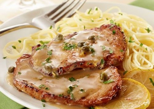 This pork piccata with butter sauce is a gorgeous dish that you can put together quickly when you have unexpected guests for dinner.
