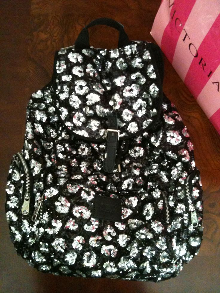 My Victorias Secret PINK Sparkly Cheetah Print Backpack I Got Today