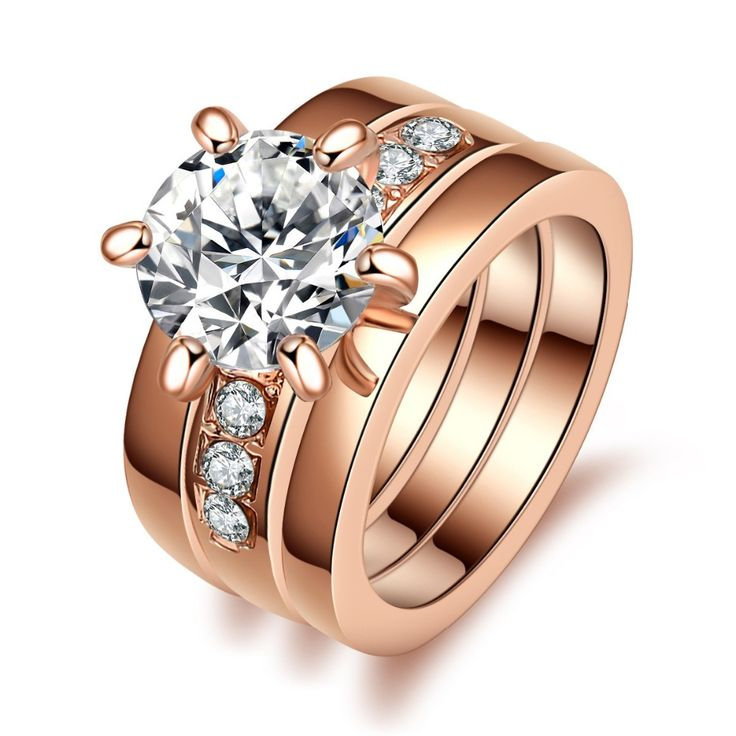Hot Sale Trendy Anti Allergy Three Rounds Zircon Rhinestone Ring Fashion Rose Gold Couple 3 in1 Set  Rings Size 6/7/8/9/10