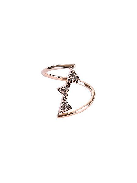 Layered rose gold and diamond ring