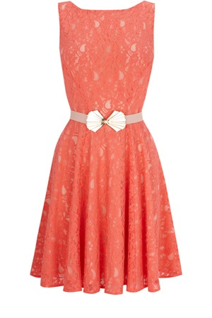 Bridesmaid dresses?   DECO BELTED LACE FIT AND FLARE DRESS
