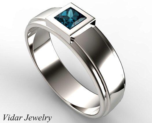 White Gold Princess Cut Blue Diamond Wedding Ring,Unique Wedding Ring For Mens,Princess Cut Diamond Ring For Mens,Custom Wedding Band by Vidarjewelry on Etsy https://www.etsy.com/au/listing/248982044/white-gold-princess-cut-blue-diamond
