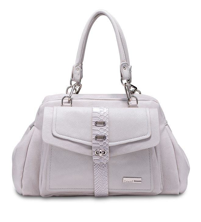 Girasole: Handbag elegante e decisa con dettagli in sintetico etterro rettile. #caleidos #bag #ss2015 #fashion