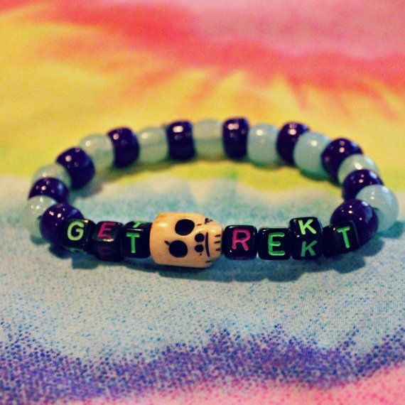 Green and Purple get rekt Kandi with Skull Beads by KandiKweens