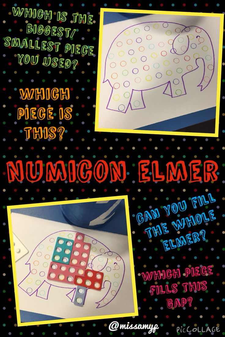 Numicon Elmer- so many Maths questions which can be asked. Shape. Size. Capacity. Amounts. Biggest. Smallest. Ordering- the list goes on.... (Missamyp)