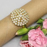 10pcs Round Gold Diamante Napkin Ring Rhinestones Serviette Buckle Holder