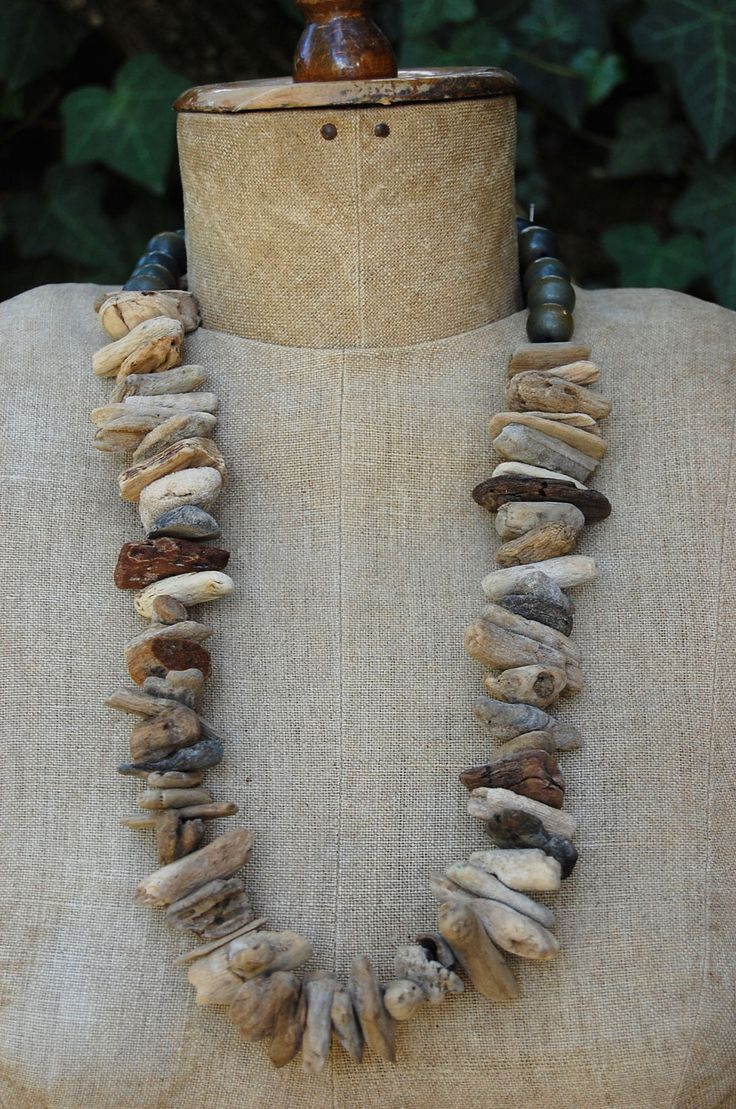Necklace | Lucia Hesselink. Driftwood and wood beads.
