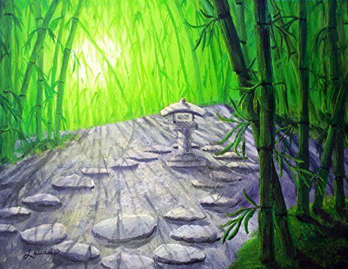 """Shinto Lantern in Bamboo Forest Iverson Original Painting. """"Shinto Lantern in Bamboo Forest"""" Grey stones lead around the Kanju-ji Lantern in the bamboo grove at Hakone Japanese Gardens (in Saratoga, California). Dawn light streams through the bamboo, in shades of lime green deepening to emerald. This zen visionary landscape is an original acrylic painting on a gallery-wrapped stretched canvas (the 3/4"""" sides are finished off in green acrylic). It has been lightly varnished to protect the..."""