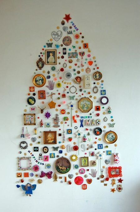 no room for a Christmas tree?  Hang decorations right on the wall!