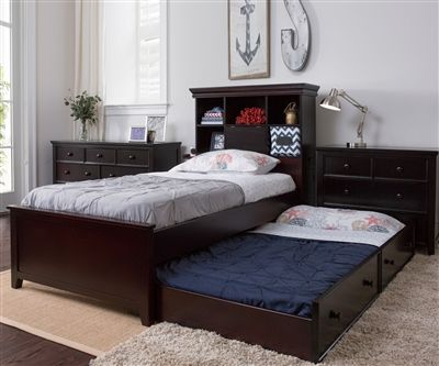 Craft Furniture Boston Twin Size Bookcase Bed with Trundle in Espresso  Finish  Craft Kids Furniture · Solid Wood Bedroom ...