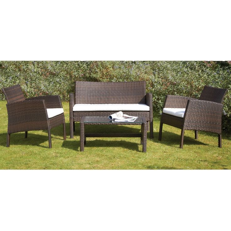 Biarritz 4pc Coffee Set And Cushions   Mocha Brown | Buy Sheds Direct