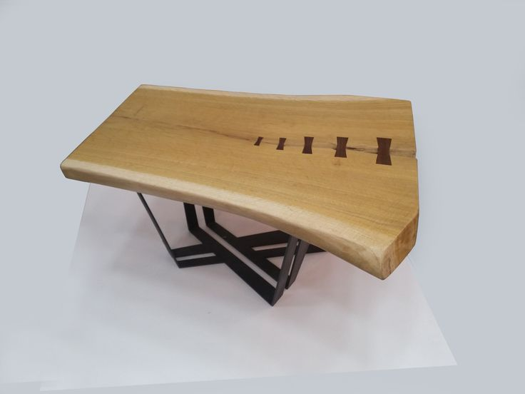 STITCH coffee table - Oak top with wenge details and 6mm laser cut steel base