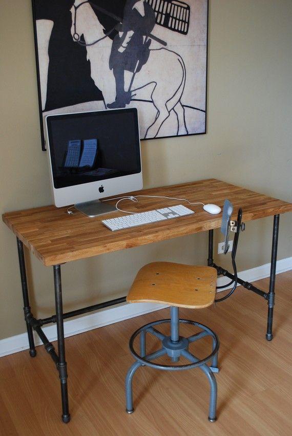 Industrial desk with Oak top and steel pipe legs by UrbanWoodGoods