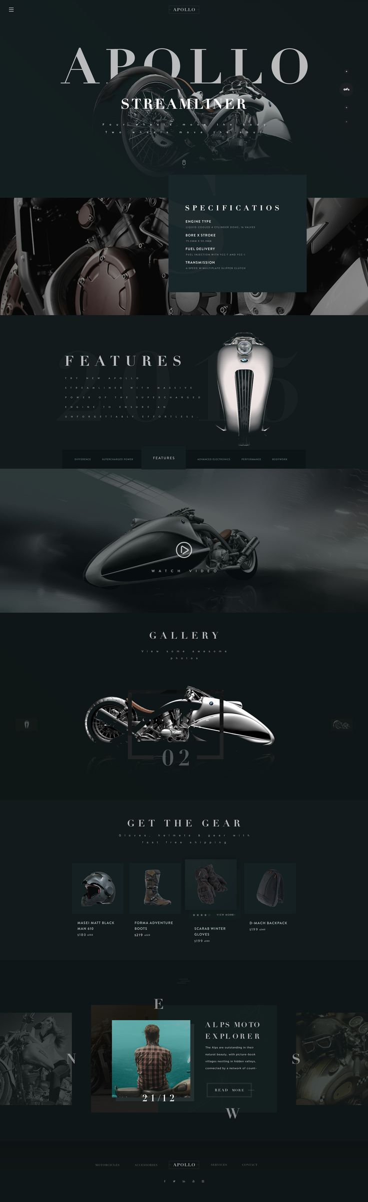 APOLLO by Nick Buturishvili.  Futuristic motorcycle website design concept