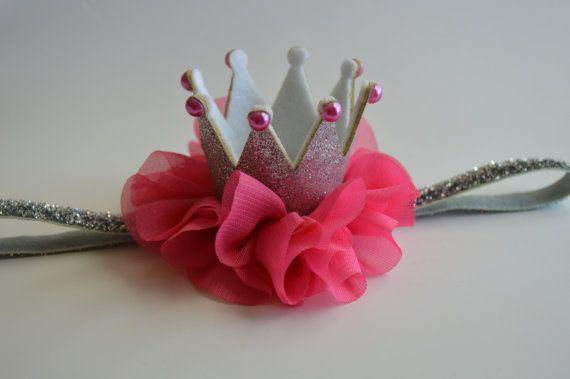 Plata y caliente bebé rosa corona cumpleaños rosa diadema - Glitter plata corona…