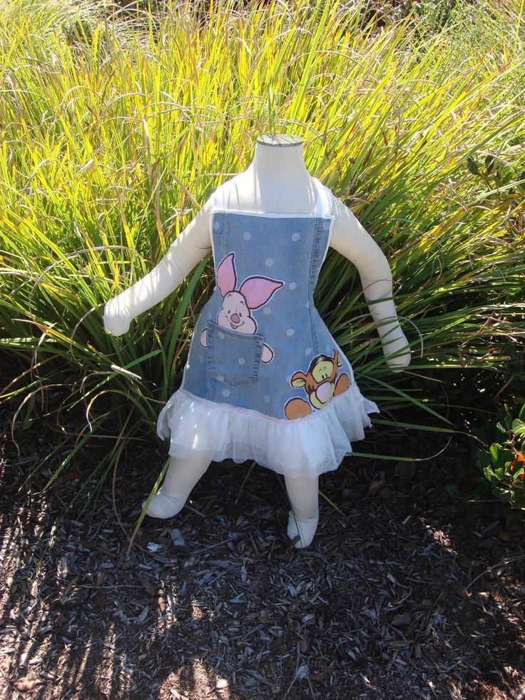 Tigger and Piglet Upcycled  Denim Apron by ThatsSewNellie on Etsy