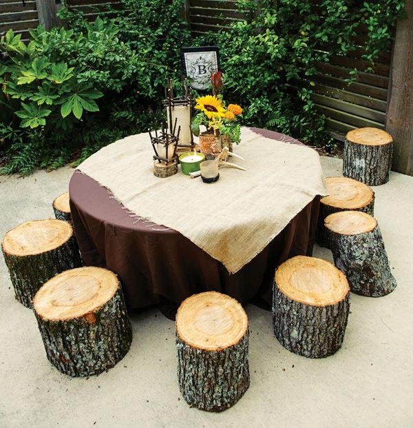 Exquisite woodsy kids campground party tree trunks - Tree trunk table and chairs ...
