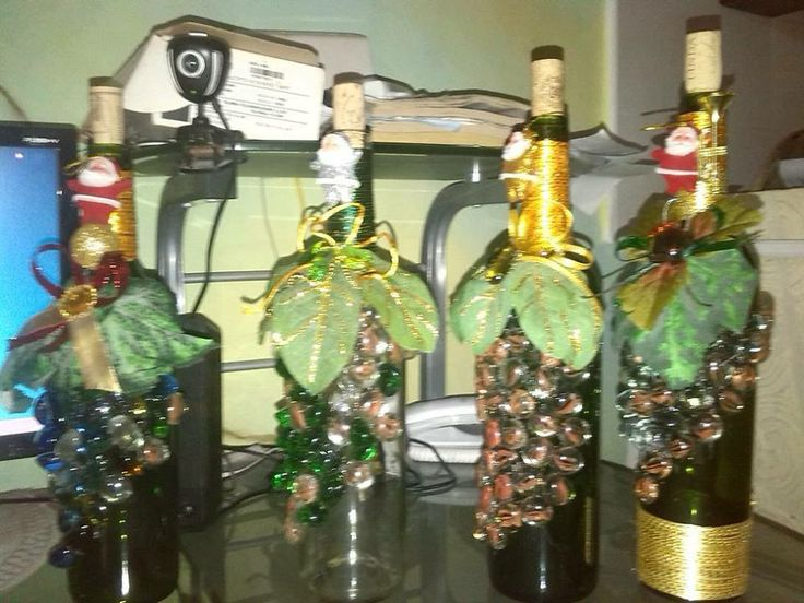 1000 images about botellas decoradas on pinterest salud - Botellas de vino decoradas para navidad ...