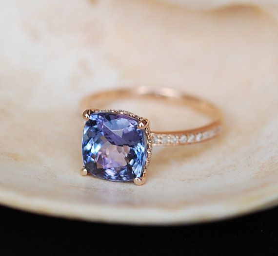 Tanzanite Ring. Rose Gold Engagement Ring Lavender Mint Tanzanite emarald cut halo engagement ring 14k rose gold.