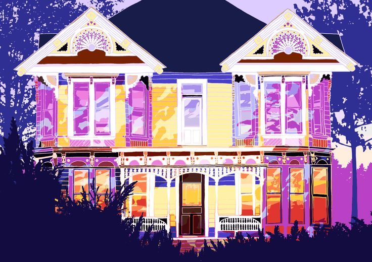 GIF House Sunset Shadows by Rachel Whallett