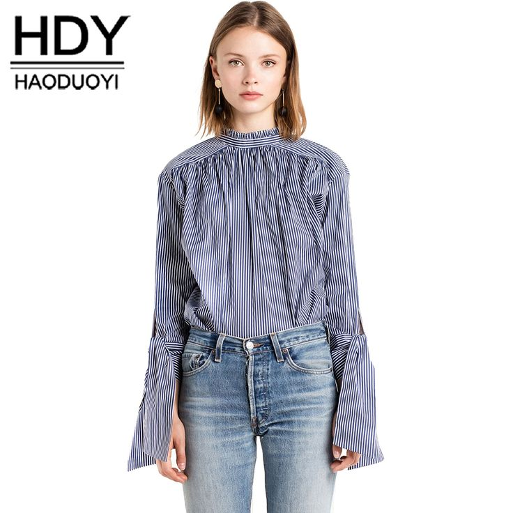 HDY Haoduoyi Sweet Casual Chic Women Tops Sexy Elegant Back Single Breasted Blouse Autumn Tie Cuff Loose Soft Striped Shirt