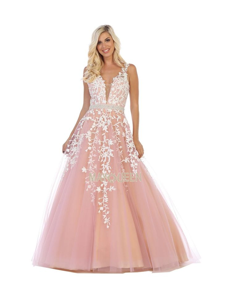 MQ 7613 - Lace Deep-V Ballgown with Vine Embroidery