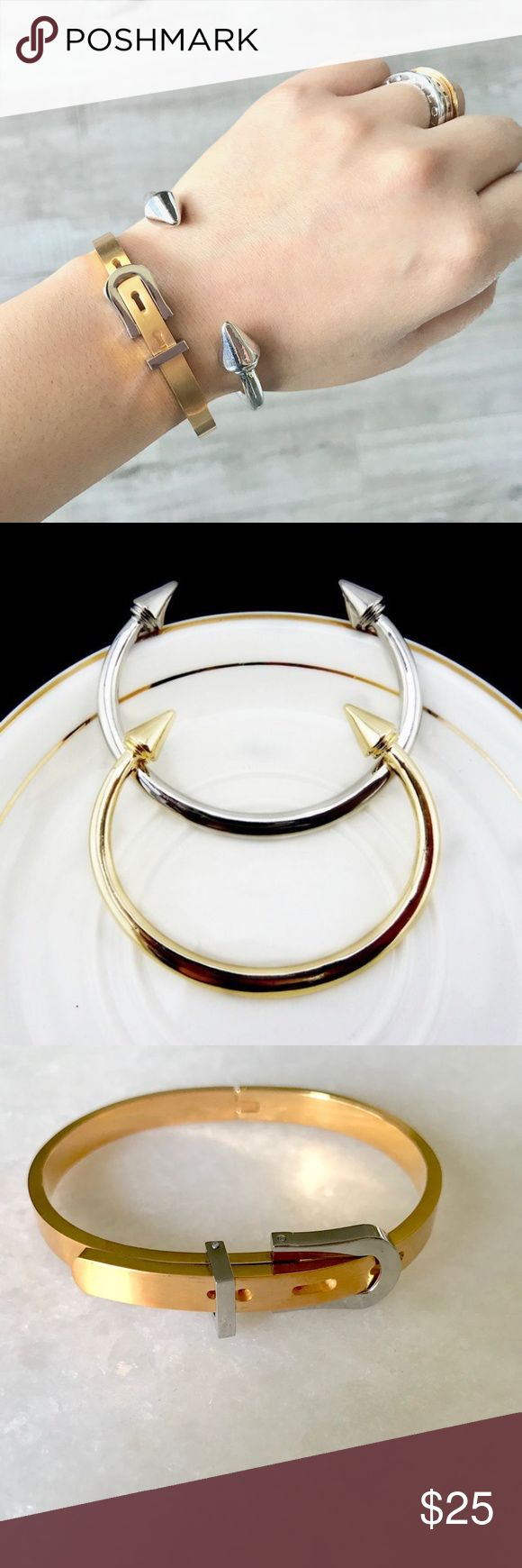 Beautiful set ! Get both for the price listed! Belt bracelets is stainless steel and can be adjusted, color gold with silver, the other bracelet is silver color . Jewelry Bracelets
