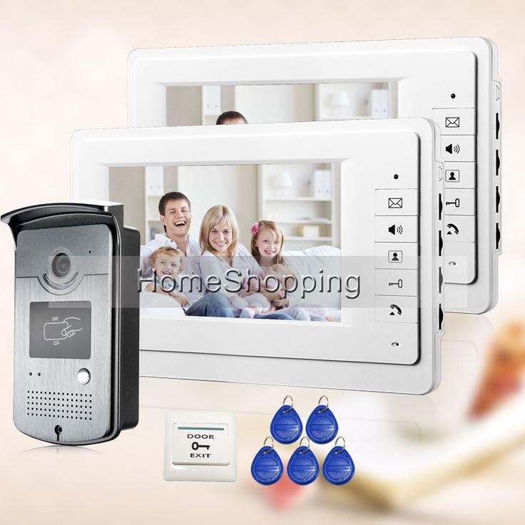 """GRATIS VERZENDING NIEUWE 7 """"LCD Home Video Intercom deurtelefoon Systeem Met 2 Wit Monitor + 1 RFID Kaartlezer Deur Camera GROOTHANDEL"""
