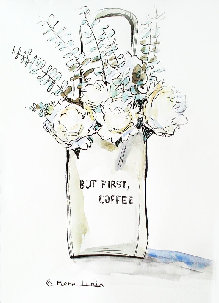 Illustration by Elena_linia. #illustration #flower #drawing #art #watercolor #sketch #coffee #inspiration