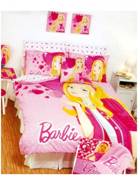Pink Barbie Hearts Quilt Cover Set available in single and double bed sizes from Kids Bedding Dreams #girls #bedroom