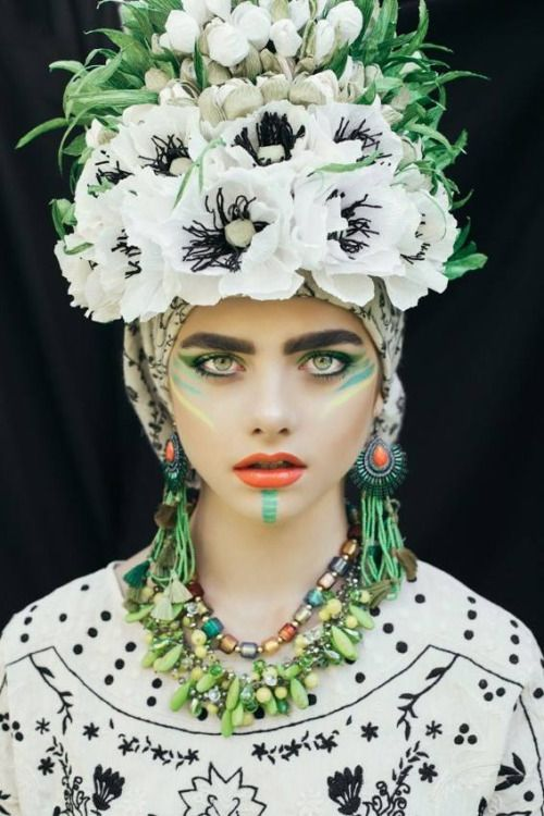 """lamus-dworski: Etno series by the make-up artist Beata Bojda from Poland. Photography: Ula Kóska. """"In the folk culture - Polish wreath and bunches of flowers were a part of both religious and secular ceremonies such as marriage, funeral, festivals or Easter. In late 19th and early 20th century when industry developed decorative papers and cigarette - new branch of handicraft called 'handicraft paper' developed. 'Handcraft paper' has been used in the manufacture of ornaments, especially d..."""