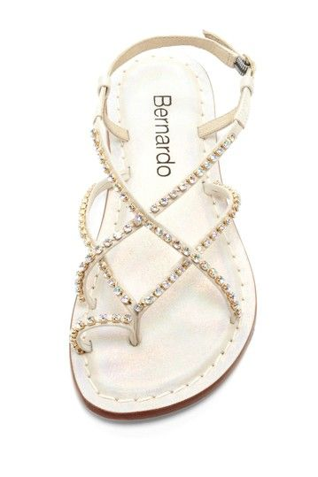 Bernardo  Mariko Jeweled Sandal  $89.00  177.00  50% off  - Round toe loop  - Ankle strap with adjustable buckle closure  - Crisscross vamp with jewel embellishment  - Lightly cushioned footbed  - Imported  Materials  Leather upper, rubber sole