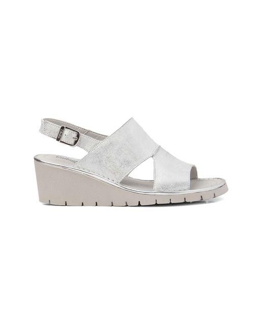 Sandalias de cuña de mujer Callaghan de piel en color plata