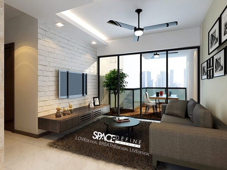 textured wallpaper, tv mounted on wall, simple shelf below, L-shaped ceiling, lights and ceiling fan