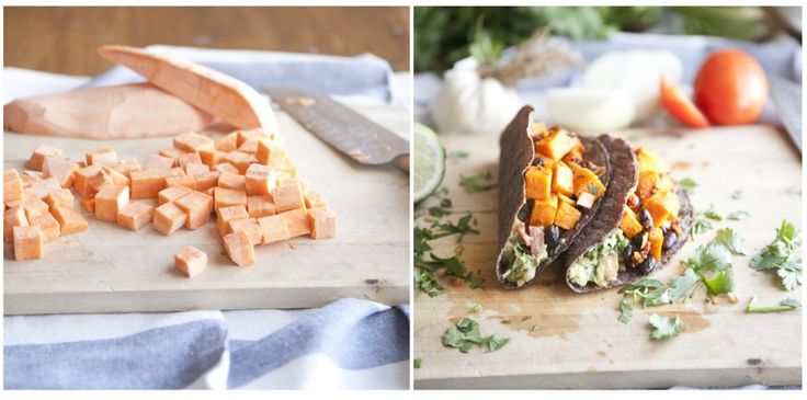 Chipotle Sweet Potato, Black Bean, and Guac Tacos | via Naturally Ella