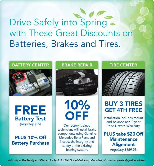 It's time for a bit of spring cleaning for your Mercedes-Benz! Our April Service Incentives are out, and we're offering some fantastic savings on batteries, brakes and tires! All designed to keep your MB safe out on the road. Email service@arodmercedesbenz.com to book your appointment before 4/30/14.