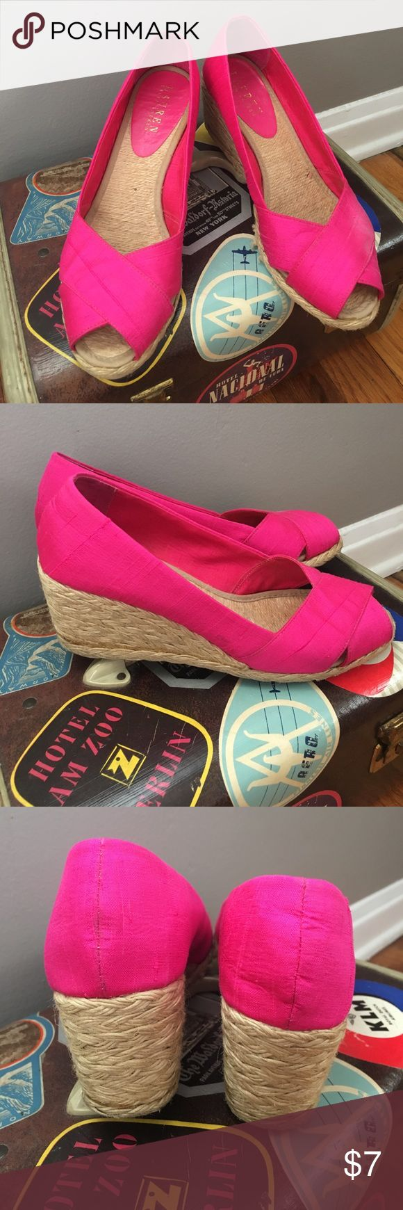 Lauren by Ralph Lauren Hot Pink Espadrilles Picnic ready! Style: Cecilia. Color: Fuschia. Fading on left shoe shown on last pic. Home of cute dog and no smoke. Lauren Ralph Lauren Shoes Espadrilles