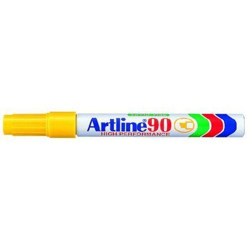 Alkoholos filc toll 2 - 5 mm vágott végű - Sárga - Újratölthető és vízálló - Artline EK-90 - Permanent Marker - 199Ft
